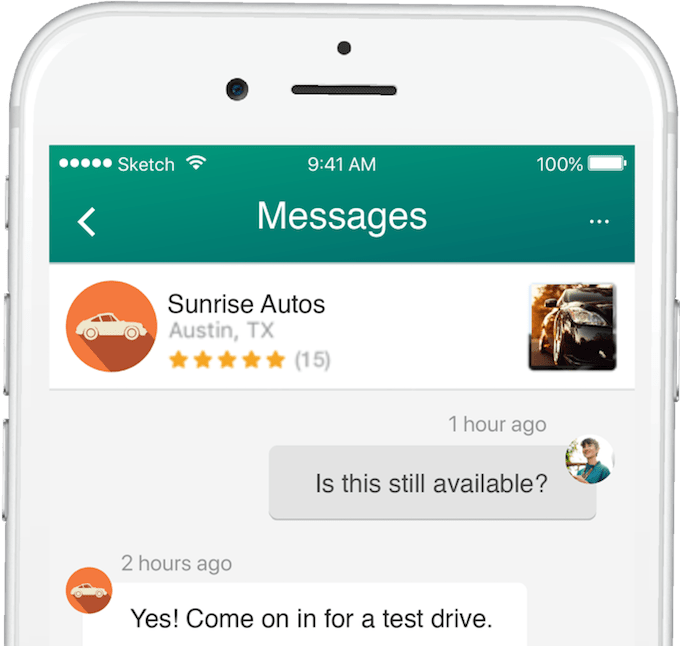 Dealer's profile on phone